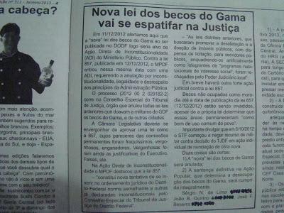 """Leia o texto completo do artigo publicado em jornal sobre a """"nova"""" lei dos becos do Gama"""