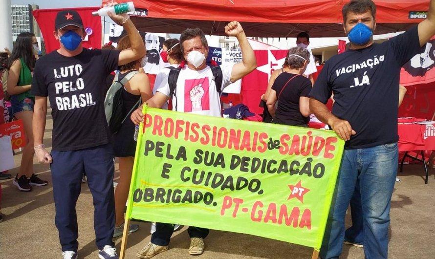 """Manifestação pacífica e cidadã em Brasília chamada de """"O povo na rua: fora Bolsonaro"""""""