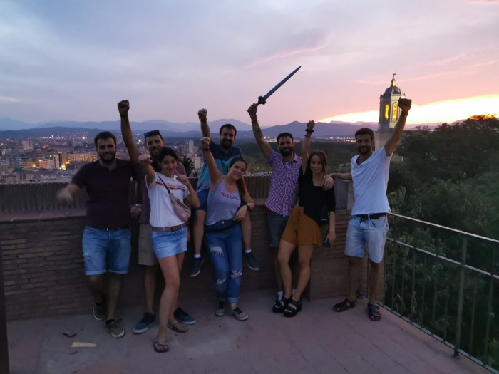 """Players after successfully finishing the outdoor Escape Room in Girona (City Quest) by GAM Agency based on """"Game of Thrones"""""""