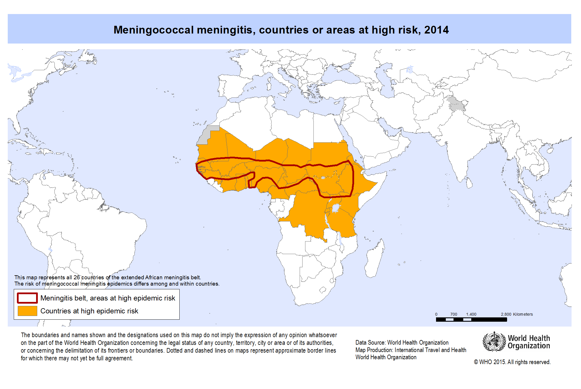 Meningococcal disease distribution map by WHO