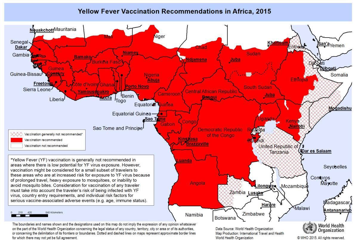 WHO Yellow Fever Map Zimbabwe