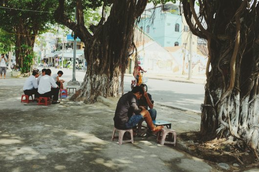 Pause im Schatten der Bäume