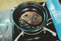 Der Fisch wird gekocht