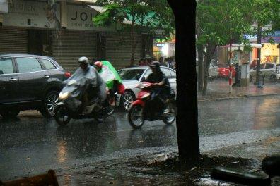 Mopeds im Regen