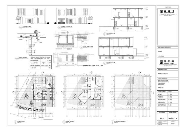 Jasa Desain Rumah Contoh Paket Gambar Kerja 00-01 IMB