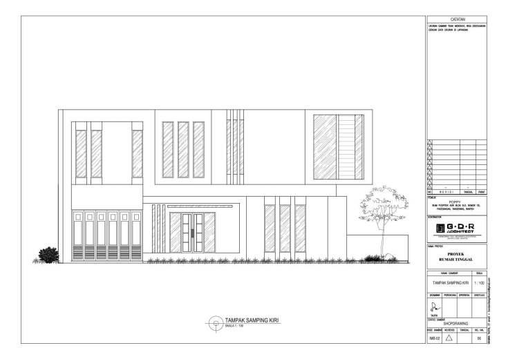 Jasa Desain Rumah Contoh Paket Gambar Kerja 06 TAMPAK SAMPING KIRI