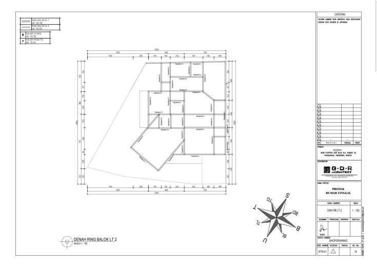 Jasa Desain Rumah Contoh Paket Gambar Kerja 15 DENAH RING BALOK LT 2