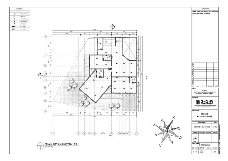 Jasa Desain Rumah Contoh Paket Gambar Kerja 21 DENAH INSTALASI LISTRIK LT 2