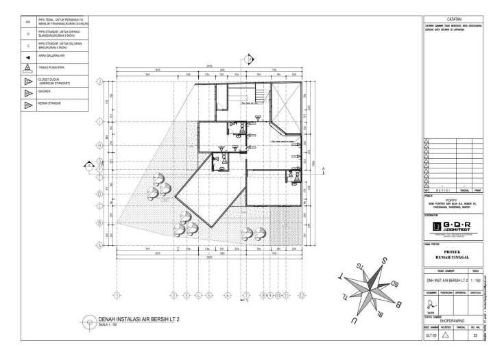 Jasa Desain Rumah Contoh Paket Gambar Kerja 23 DENAH INSTALASI AIR BERSIH LT 2