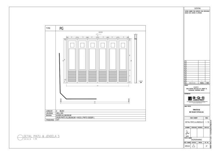 Jasa Desain Rumah Contoh Paket Gambar Kerja 37 DETAIL PINTU DAN JENDELA 5