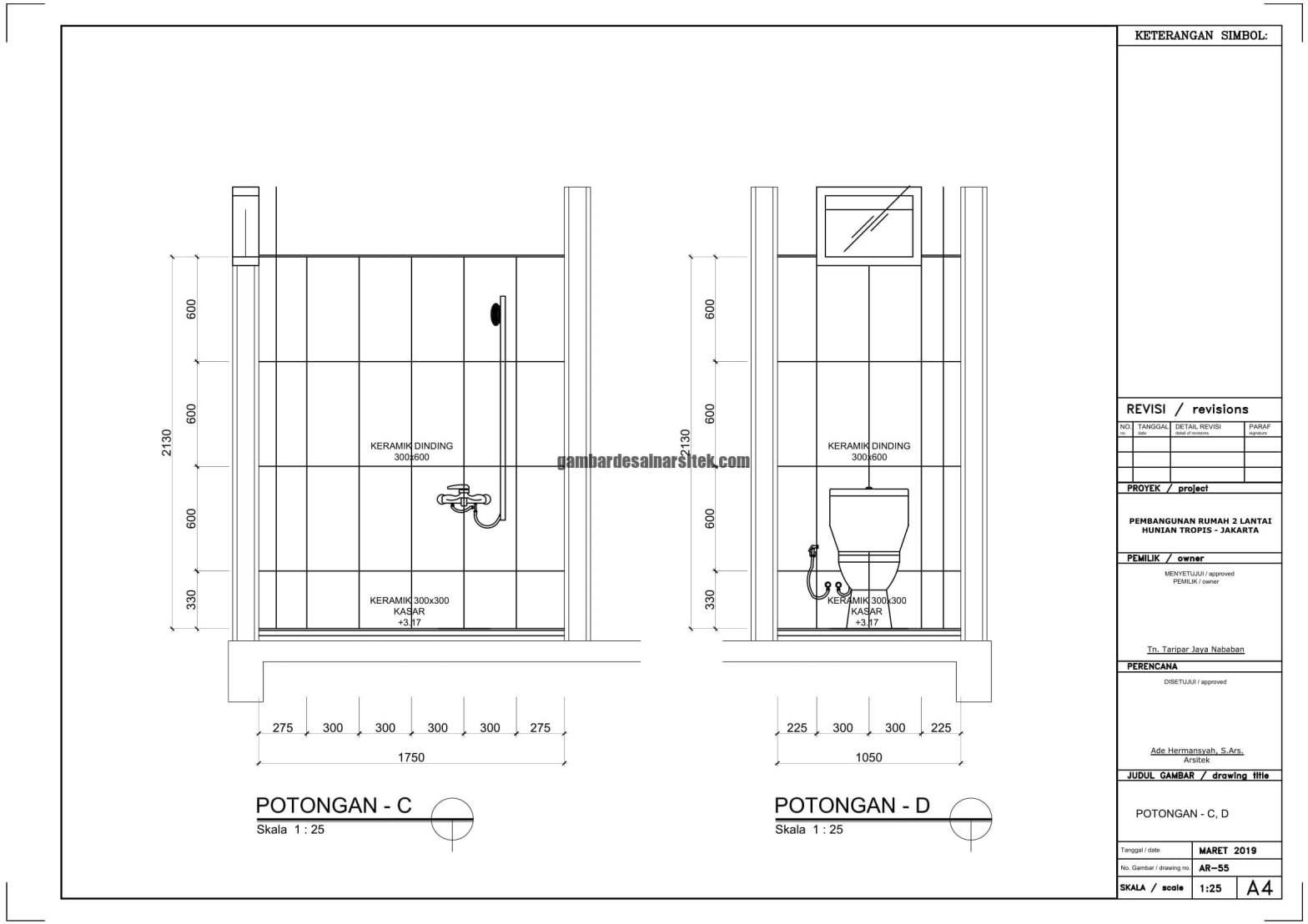 Gambar Kerja 2D Rumah 2 Lantai Tropis POTONGAN 1
