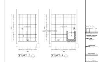 Gambar Kerja 2D Rumah 2 Lantai Tropis POTONGAN A B 1