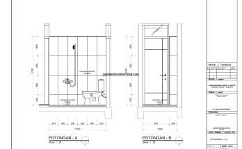 Gambar Kerja 2D Rumah 2 Lantai Tropis POTONGAN AB 1