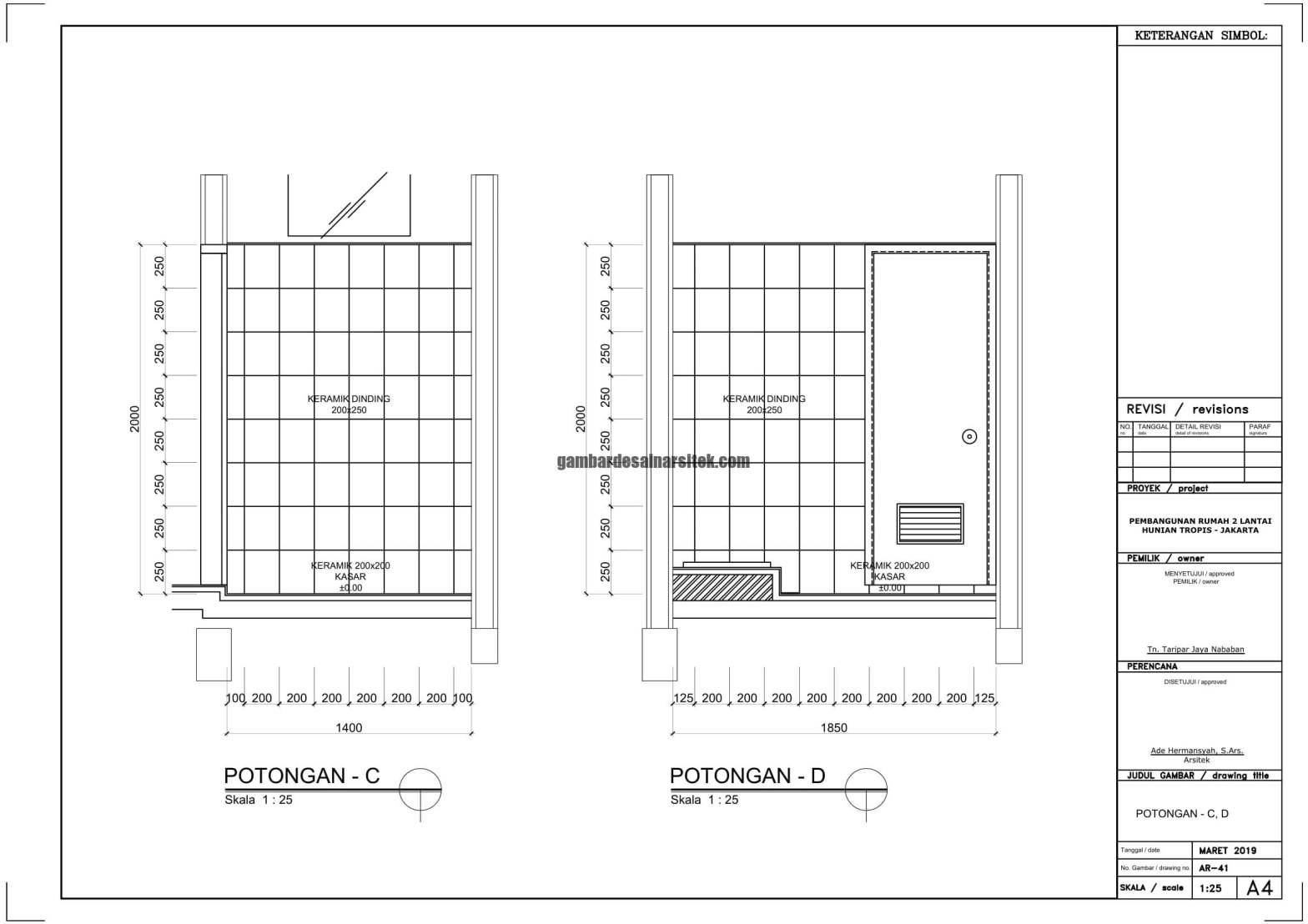 Gambar Kerja 2D Rumah 2 Lantai Tropis POTONGAN C D 1