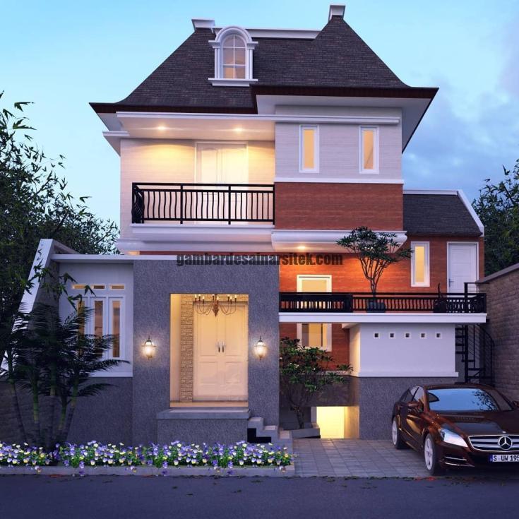 Rumah Mewah Mansard Eropa Klasik dengan Jendela di Atap 2