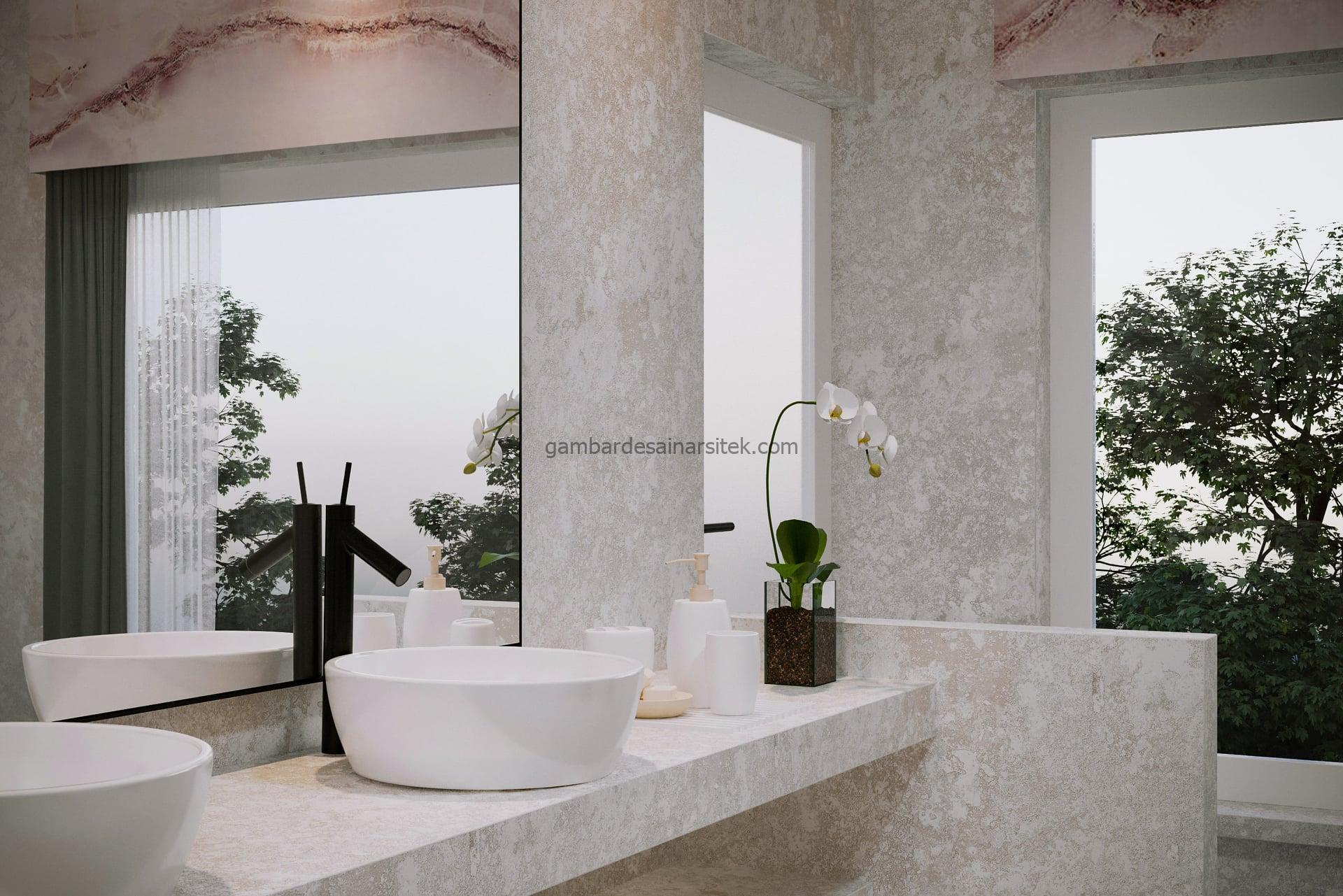 Contoh Desain Interior Rose Marble Bathroom 3D 2