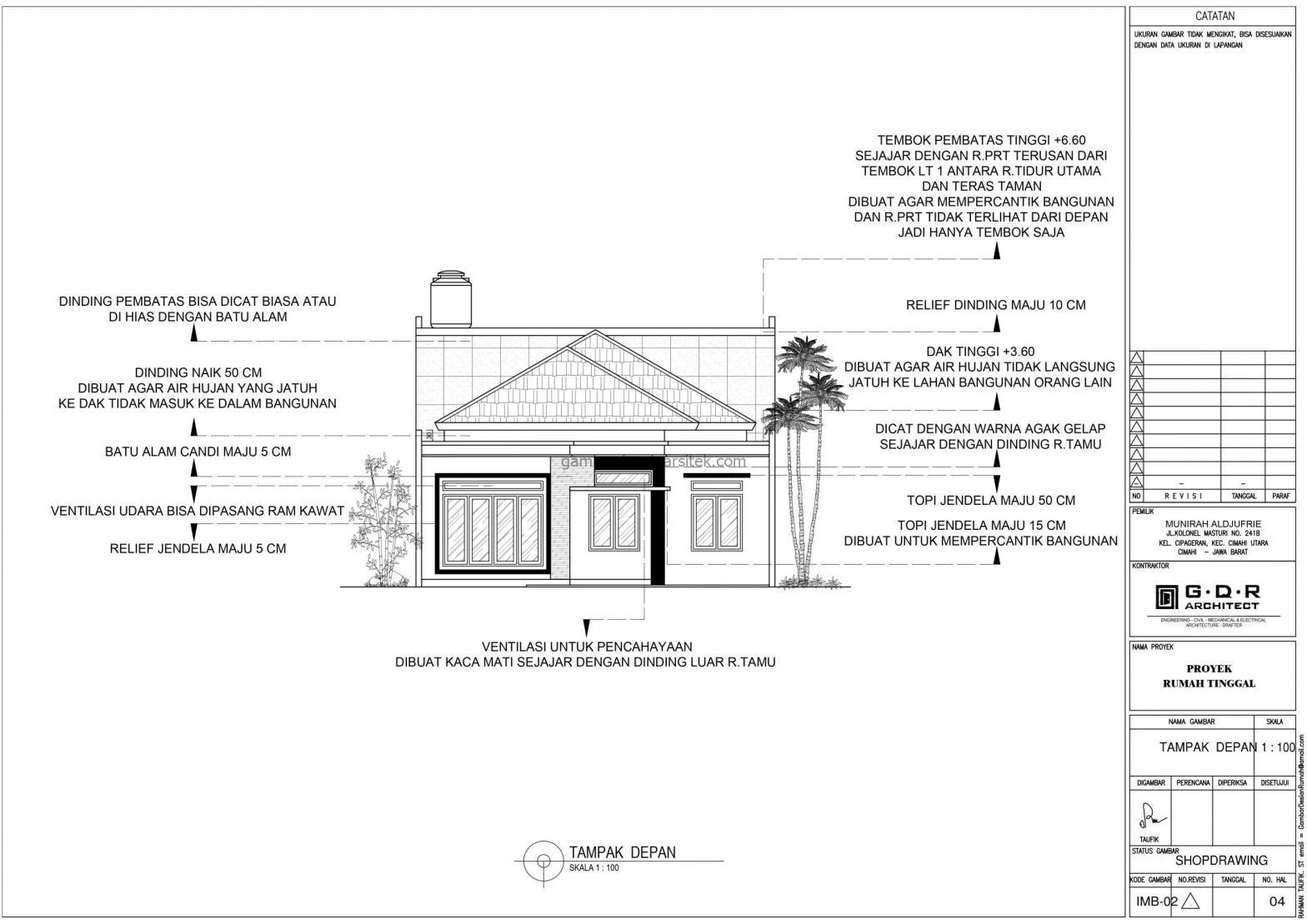 Tampak Depan Gambar Desain Rumah 1 Lantai Hemat Energi