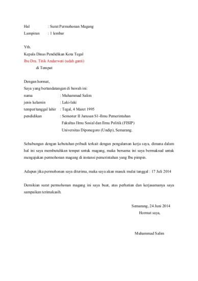 Contoh Surat Permohonan Magang Pribadi : contoh, surat, permohonan, magang, pribadi, Contoh, Surat, Lamaran, Magang, Pribadi, Kumpulan, Gambar