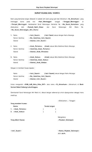 Contoh Surat Permohonan Kuasa Ahli Waris Kumpulan Contoh Surat Dan Soal Terlengkap Cute766