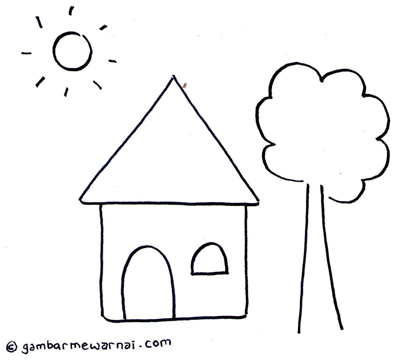 Gambar Mewarnai Rumah  gambar mewarnai