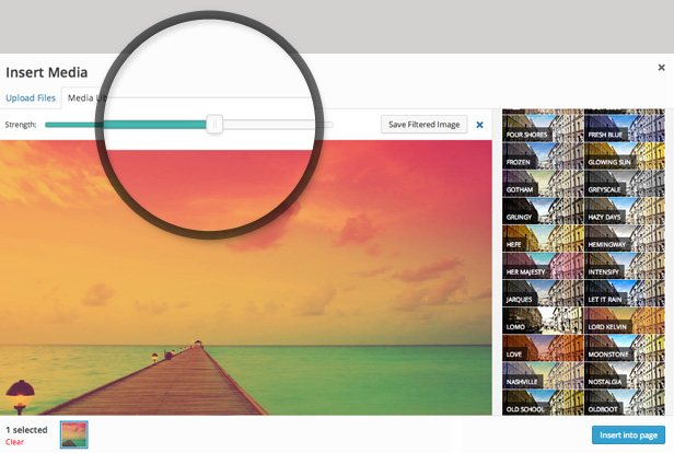 Ultimate Image Filters shows a live preview and a strength slider so you can change the filter strength