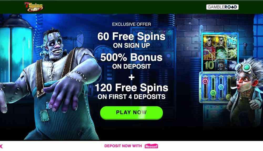 7 Spins Casino - get 180 free spins plus 500% match bonus
