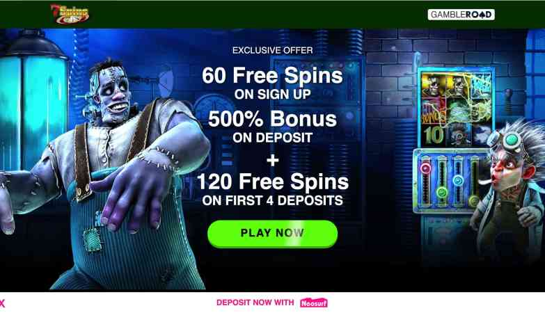 7 Spins Casino - get 180 free spins plus 500% match bonus