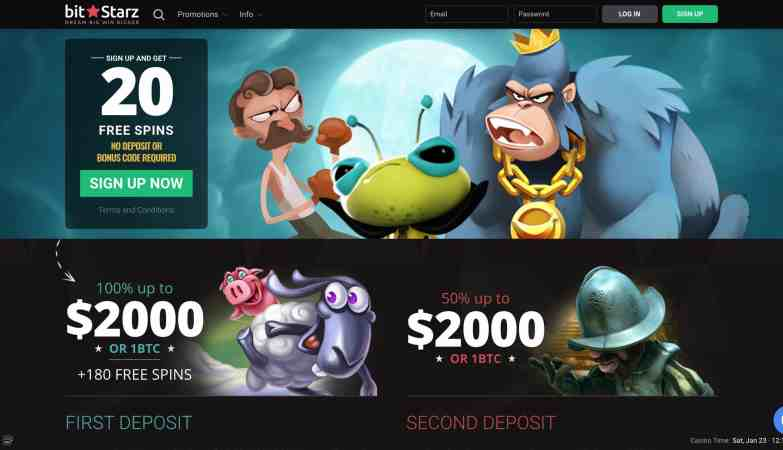 BitStarz Casino : get 20 free spins on signup + 300% match bonus