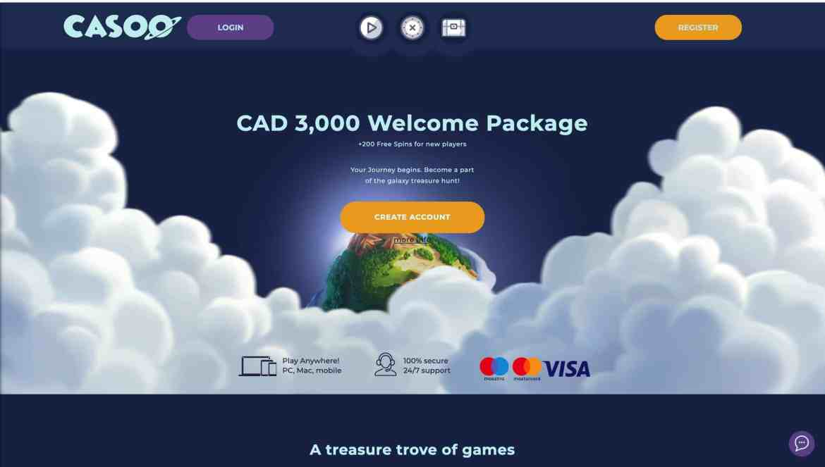 Casoo Casino : Claim $3,000 Welcome Package + 200 Spins