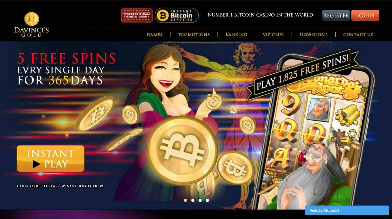 Davincis Gold Deposit Bonus : $1,000 + 555 Free Spins