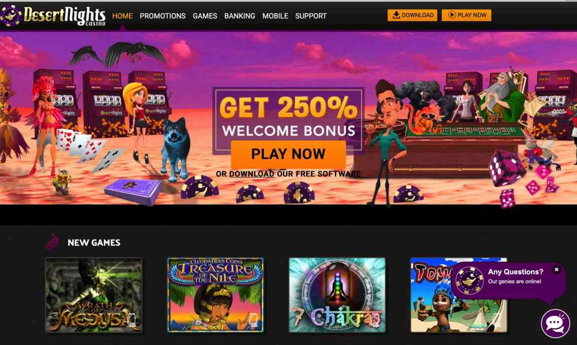 Desert Nights Casino : get $10 free sign up + 250% deposit bonus