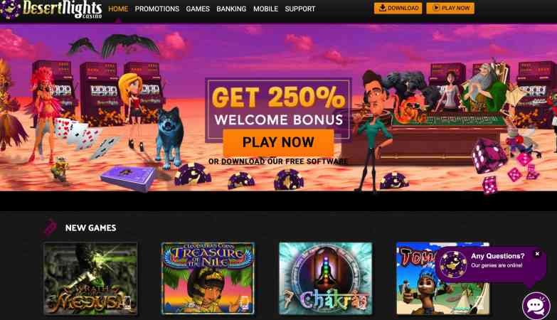 Desert Nights Casino : Get $10 Free + 250% Match Signup Bonus