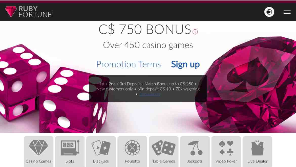 Ruby Fortune Casino : Get £€$750 free bonus On 3 Deposits