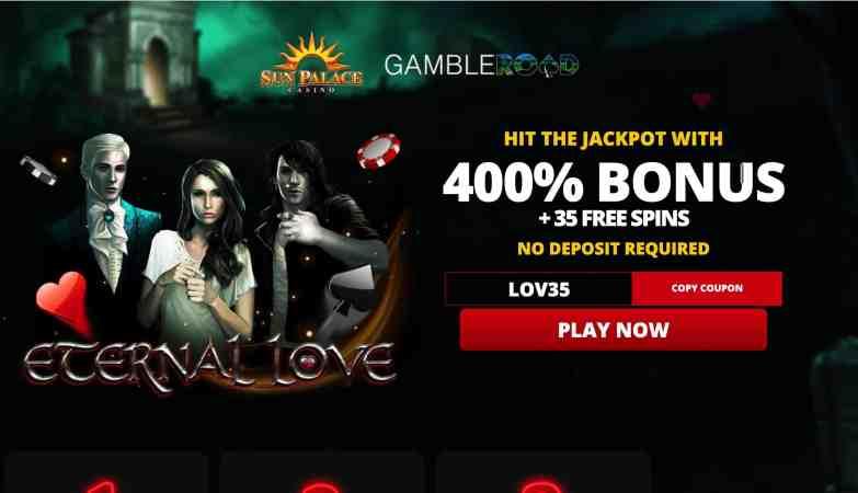 Sun Palace Casino - 400% deposit bonus plus 25 free spins