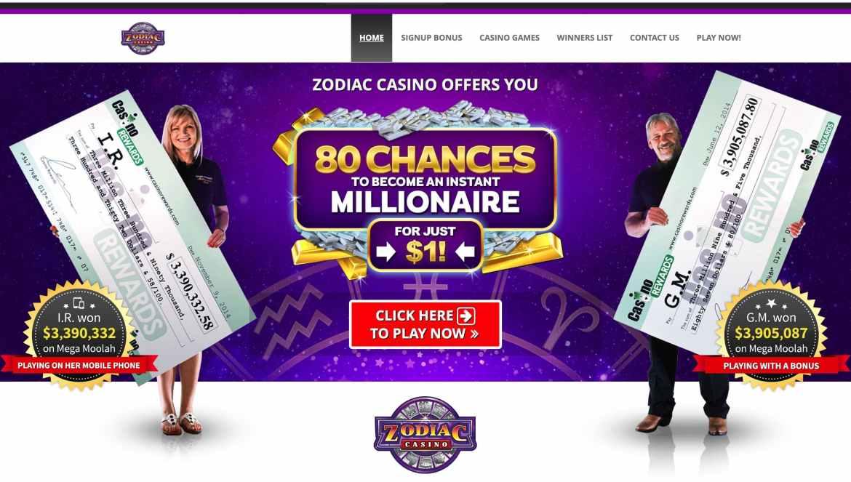 Zodiac Casino – sign-up reward $€£480 bonus on 4 deposits