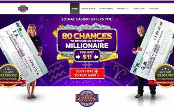 Zodiac Casino : get 80 chances to come a millionaire for just $1
