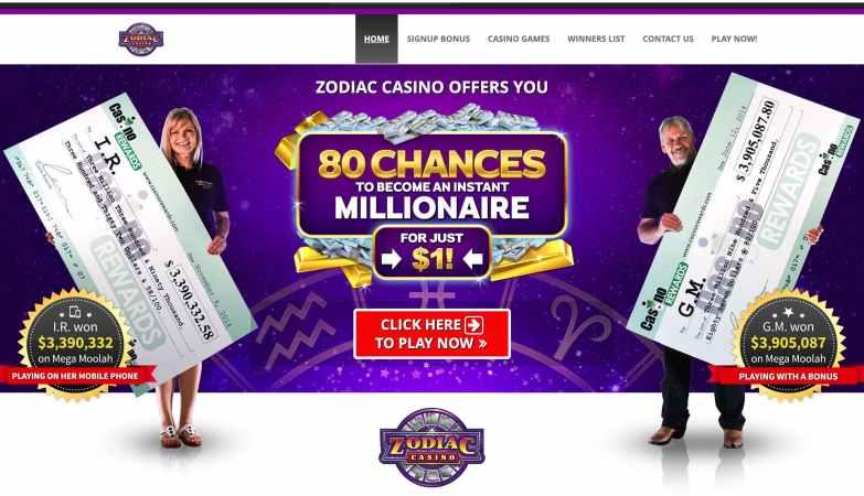 Zodiac Casino - sign-up reward $€£480 bonus on 4 deposits