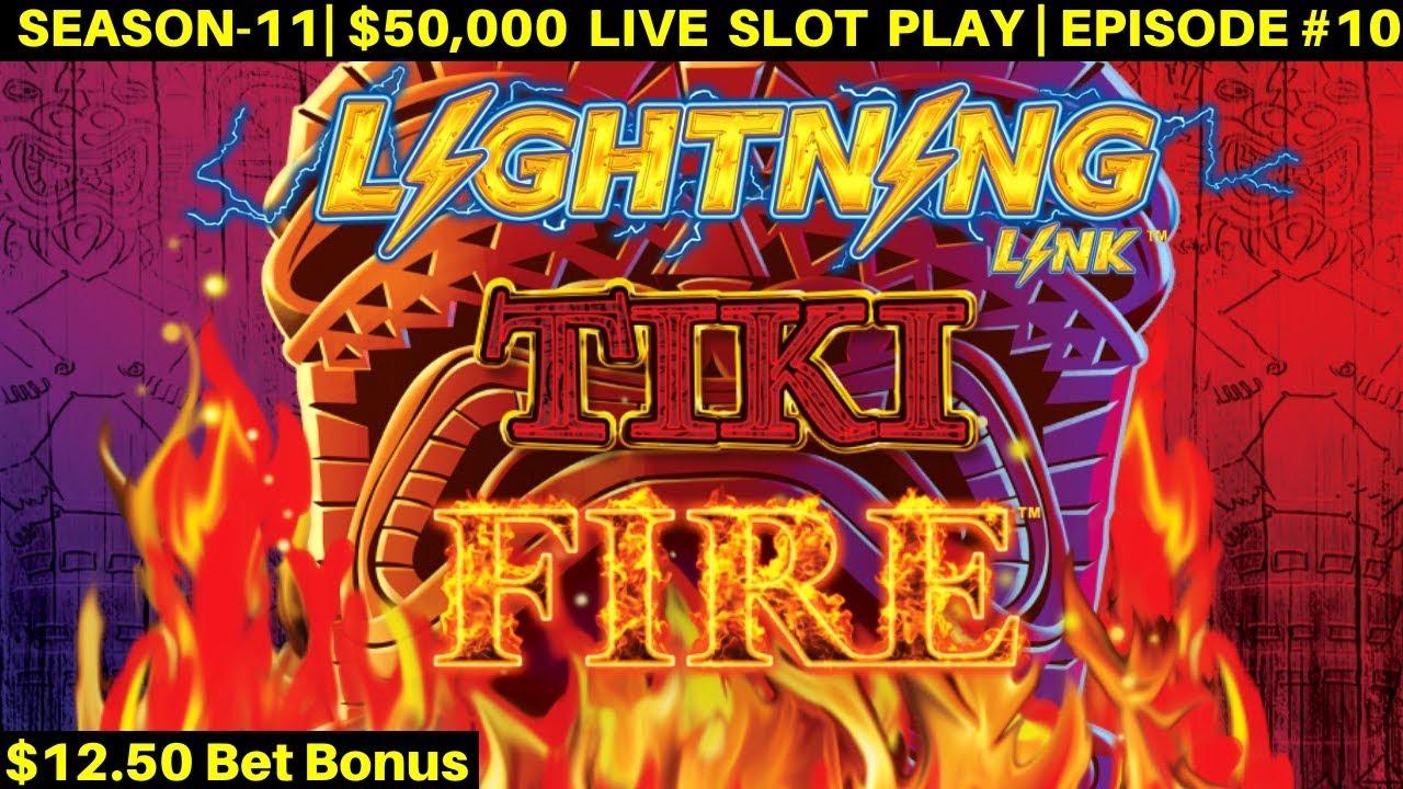 Tiki Fire Lightning Link Slot Machine Bonuses Won Live Slot Play At Casino Season 11 Episode 10