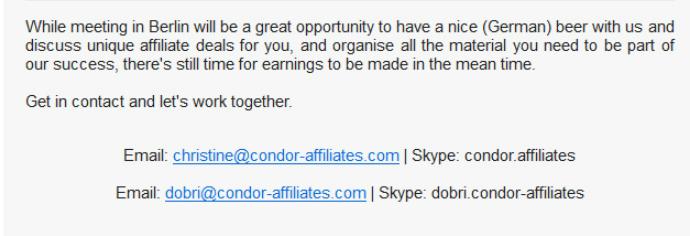 Condor Affiliates Contact