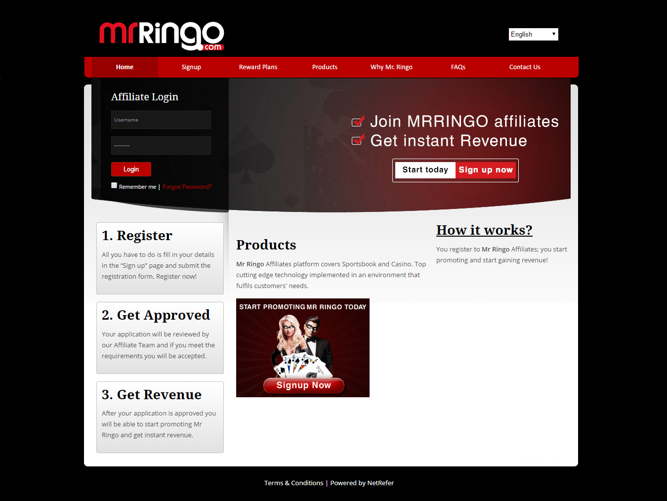 Mr. Ringo Affiliates website