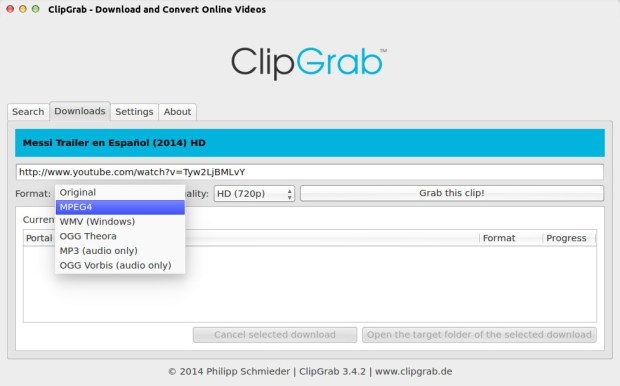 clipgrab on ubuntu 14.04 screenshot 3