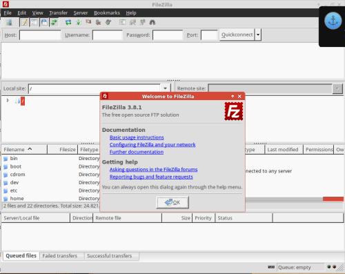 filezilla 3.8.1 on xubuntu 14.04
