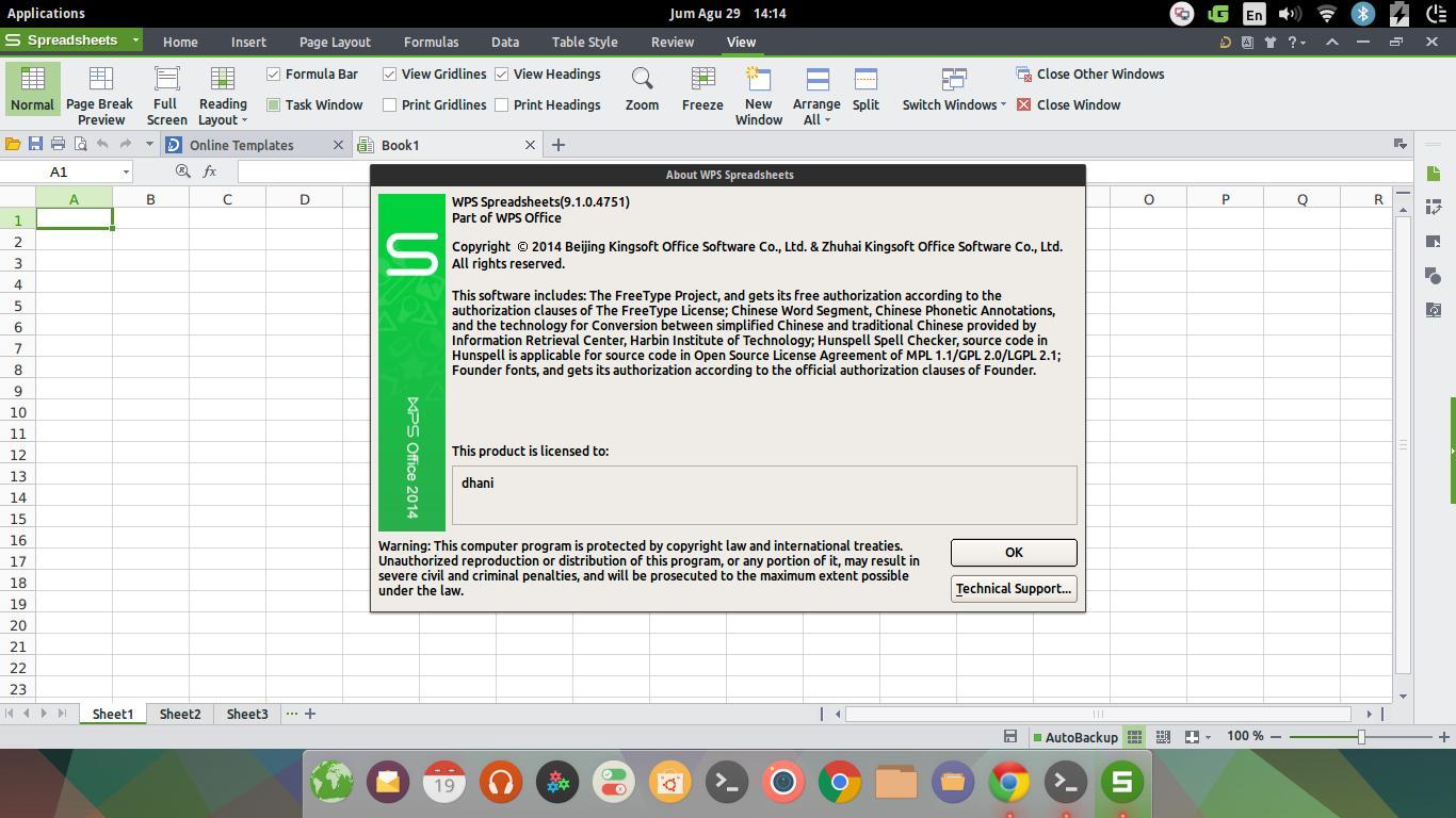 Install Kingsoft Office 9 1 0 Alpha 15 on Elementary OS Freya