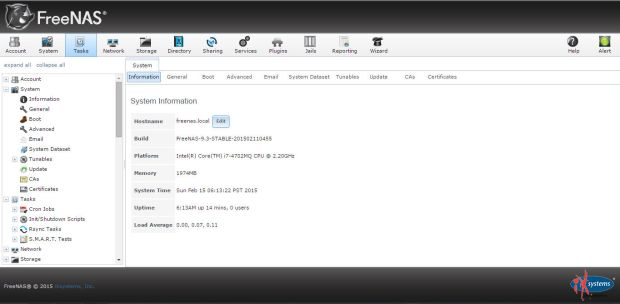freenas 9.3 web management console