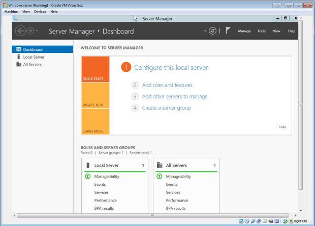 windows server on virtualbox