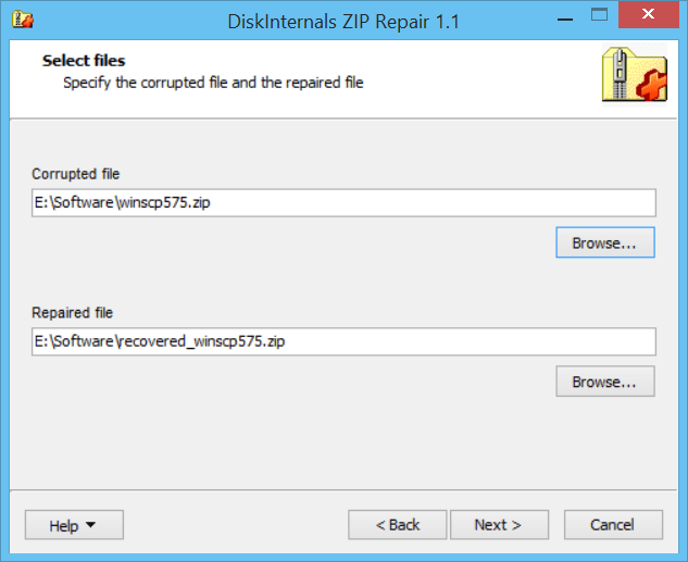 How to repair corrupted ZIP file using DiskInternals ZIP