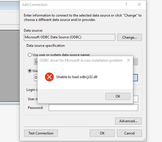 odbcji32.dll error