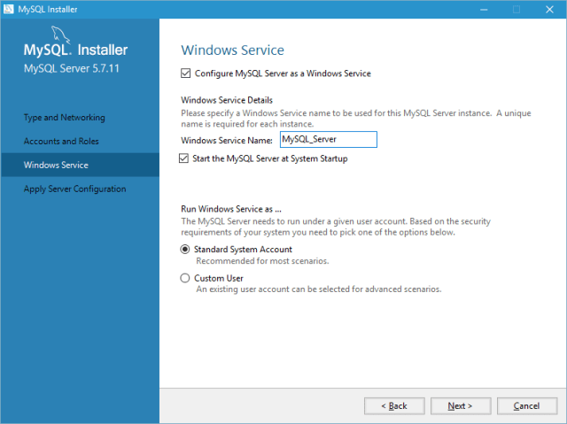 install mysql on windows 10 step 9
