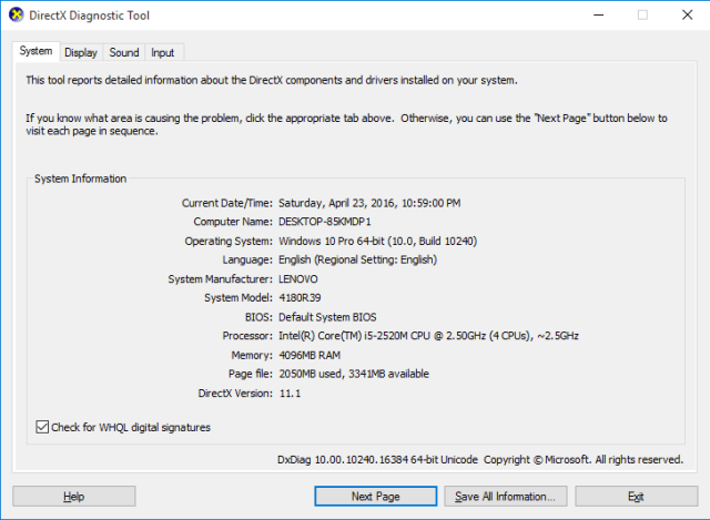 dxdiag result on thinkpad t420.PNG