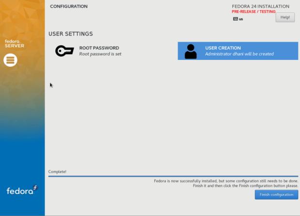 fedora 24 server install 7